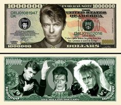 David Bowie Million Dollar Novelty Money