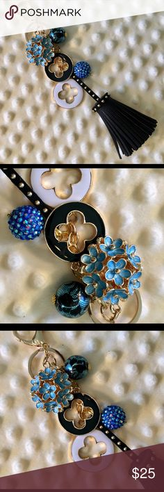 NEW Pretty Blue Hydrangea-Inspired Flower Keychain NWOT Eye-catching Designer-inspired Clover Charms, one black, one white, Pretty Light Blue 2-sided Flower Cluster Keychain/Bag Charm. Includes Chubby, Studded Black PU Leather Tassel with Handmade Dangle Charms in shades of blue! Made with Gold Tone Lobster Claw Clasp and Jump Ring. All the keychains I'm selling are well made and are one-of-kind. You can't find one like this anywhere! From non-smoking home. ONE OF MY FAVORITES! Accessories…