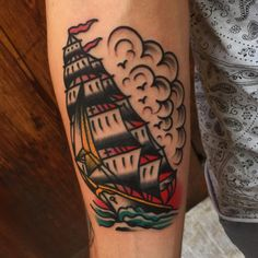 """christianotto: """"Walk in banger from today Thanks (at Old Town Tattoos) """" Drum Tattoo, Cloud Tattoo, Epic Tattoo, Tattoo Designs, Tattoo Ideas, American Traditional, Old Town, New Tattoos, Old School"""