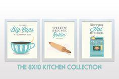 ORIGINAL Kitchen Print Set - Set of 3 Poster Prints - wall cooking baking rap funny minimal eggshell aqua teal retro mid century modern art Kitchen Prints, Kitchen Art, Funny Kitchen, Kitchen Ideas, Kitchen Decor, Kitchen Posters, Kitchen Walls, Kitchen Signs, Poster Wall