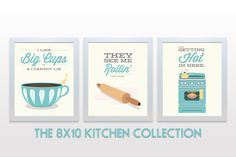 ORIGINAL Kitchen Print Set - 8x10 Posters wall cooking baking rap lyrics minimal eggshell aqua teal cute retro mid century modern 3 piece bynoodlehug