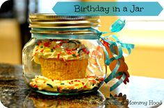 Cupcake in a jar! The perfect birthday sprinkle cupcakes! Mason Jar and cupcake love.