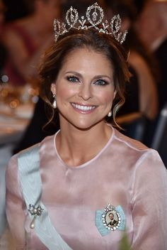 Princess Madeleine of Sweden dazzled in her diamond encrusted tiara as she joins other Swedish royals in Stockholm's City Hall during the Nobel Prize Award Ceremony 2016