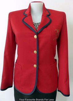 Ladies Long Sleeve Red Wool and Cashmere Jacket Trussardi Jeans Size 46 Au 14-16