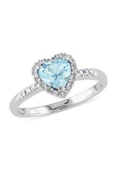 White Gold Pave Diamond & Blue Topaz Heart Ring by Delmar on Heart Jewelry, Diamond Jewelry, Heart Ring, Fine Jewelry, Black Gold Jewelry, Rings For Her, Ring Verlobung, Silver Diamonds, Halo Diamond