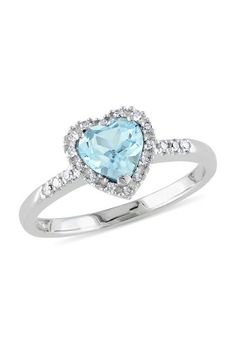 10K White Gold Pave Diamond & Blue Topaz Heart Ring