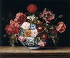 """Linard, Jacques """"Chinese Bowl with Flowers"""" 17th century during the Dutch trade with the Chinese"""