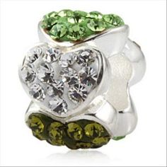 Love Hearts with Green and Clear Austrian Crystal Authentic Sterling Silver Solid Core Charms