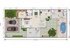 Gramado (Frente 10m) - Produtos Plot Plan, Home Projects, House Plans, Floor Plans, House Design, Architecture, 1, Best House Designs, Duplex House Plans