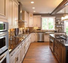 Kitchen Cabinets, wood floors, back splash.