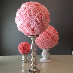 Pink kissing balls for wedding centerpieces