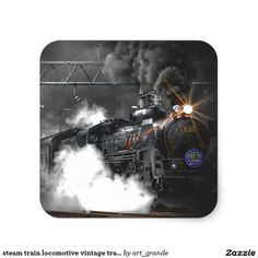 steam train locomotive vintage transport square sticker