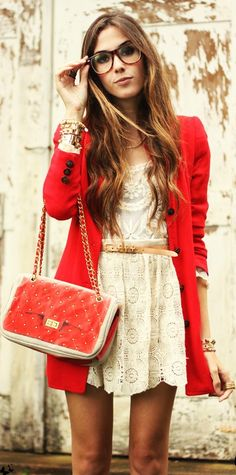 lace dress + red