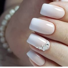 Wedding Nail Art Ideas in our App. White and pink colors. Cute Acrylic Nails, Glue On Nails, Cute Nails, Bride Nails, Wedding Nails, Flower Nail Designs, Nail Art Designs, Nails Design, Sqaure Nails