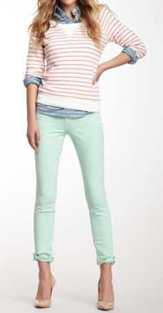 How to wear mint jeans and still look sophisticated: pair your pastel with an understated striped sweater in neutral colors, layered over a chambray button-down. Stick with simple accessories that don't compete with the colors, like nude heels and a structured bag. Cuff the sleeves and pants for an added element of cool.