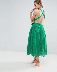 Incredible dress |ASOS SALON Lace Pinny Backless Full Midi Prom Dress