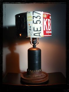 rat rod lamp with old car license plates