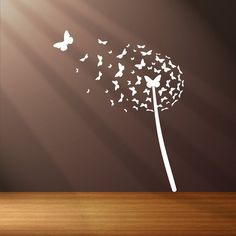 Photo of Dandelion butterfly blown in the wind vinyl wall sticker