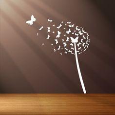 Photo of Dandelion butterfly blown in the wind vinyl wall sticker