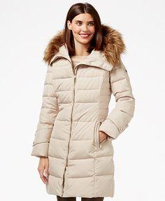 Calvin Klein Faux-Fur-Trim Down Puffer Coat - Coats - Women - Macy's