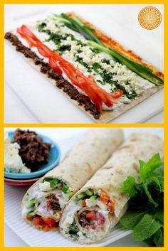 California Lavash #Mediterranean wrap. We used high protein Greek yogurt, kalamata olives, red bell pepper hummus, cucumbers, and feta cheese to create this simple and #healthy dish!