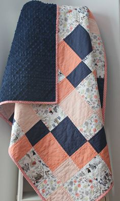 Coral baby quilt baby quilts handmade coral and navy nursery homemade quilts modern baby quilt forest animal nursery crib bedding Quilt Baby, Baby Quilt Patterns, Baby Girl Quilts, Girls Quilts, Quilts For Babies, Navy Quilt, Homemade Quilts, Handmade Baby Quilts, Cute Quilts