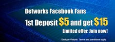 Like our facebook page to grab first deposit bonus up to $15! Limited offer, grab it now! More info at http://on.fb.me/1b1Bx24