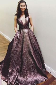Elegant V Neck A Line Chocolate Long Prom Dress Ball Gown With Pockets   G291