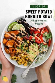This sweet potato black bean burrito bowl is an easy vegan dinner recipe that is perfect for meal prep! It's loaded with fresh flavor, spicy tahini dressing, cilantro lime rice and roasted veggies for the perfect vegan buddha bowl. #burritobowl #veganburritobowl #eatwithclarity #vegandinnerrecipe #veganrecipes #easyvegandinner #mealprep Easy Vegan Dinner, Vegan Dinner Recipes, Vegan Dinners, Whole Food Recipes, Vegetarian Recipes, Cooking Recipes, Healthy Recipes, Vegetarian Bowl, Vegan Bowl Recipes