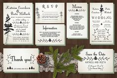 Pine Tree Wedding Invitation Suite by Knotted Design on @creativemarket