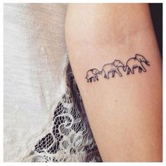 Three Elephants Tatto Cute for a family More