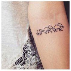 Three Elephants Tatto Cute for a family