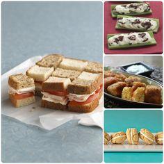 Lunchbox ideas: Checkerboard Turkey Sandwich, Creamy Cranberry Stuffed Celery, Mac and Cheese Bites, Celebration Sandwich Cookies