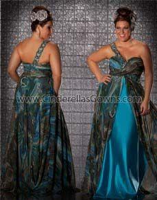 8c7290cb44e Mac Duggal 2012 Fabulouss Plus Size Prom - Peacock Print Chiffon   Satin  Beaded One Shoulder Plus Size Prom Dress - -