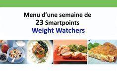 menu d'une semaine de 23 Smartpoints Weight Watchers, un menu adapté au programme Weight Watchers contenant des plats complets, équilibrés et très simples.