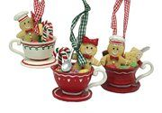 Gingerbread Kisses Cookie Boy & Girl Candies Coffee Cup Christmas Ornaments