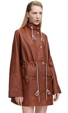 Loreto Cognac Brown anorak jacket with kimono sleeves in Italian calf leather #AcneStudios #SS15