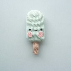 Icecream rattle crochet - Without pattern Diy Crochet Toys, Crochet Baby Mobiles, Crochet Food, Cute Crochet, Crochet Yarn, Crochet Projects, Crochet Baby Blanket Beginner, Baby Knitting, Pop Sicle