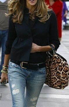 Love the cut of this blazer with the distressed jeans!