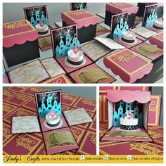 Princess Theme + Cinderella Theme + Castle Sweet Sixteen, Mis Quince , Miss XV, Quinceañera , Bat Mitzvah or Wedding Boxed Invitations. Www.jinkyscrafts.com