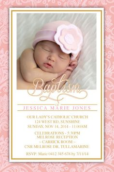 Baptism and Christening Invitation Template - Baby Blossom Christening Invitations Girl, Christening Party, Baby Baptism, Baptism Party, Baptism Ideas, Gold Invitations, Birthday Invitations, Invites, Invitation Maker