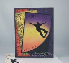Stampin up. Extreme Elements Skateboard and egg plant card stock I have this stamp.
