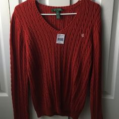Ralph Lauren Cable Knit Sweater NWT long sleeve red sweater Ralph Lauren Sweaters V-Necks
