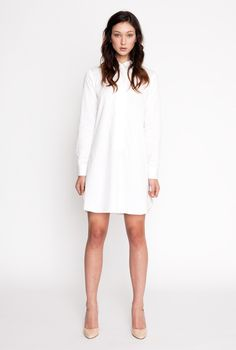 Clean white dress with high collar