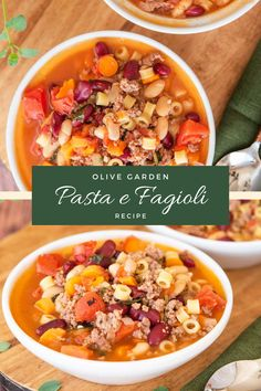 This Pasta e Fagioli soup recipe is inspired by Olive Garden and is ready to eat in under 30 minutes. This delicious soup is hearty enough for a meal and is made with only a few simple ingredients.   #pastaefagioli #olivegardenrecipes #30minutemeals Best Lunch Recipes, Pork Recipes For Dinner, Best Soup Recipes, Chili Recipes, Grilling Recipes, Pasta Recipes, Delicious Recipes, Vegetarian Recipes, Quick Easy Dinner