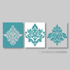 Turquoise Blue White Gray French Damask Print Trio - Home Ornamental Modern Wall Art Bedroom Bathroom Decor - You Pick the Size (NS-359)