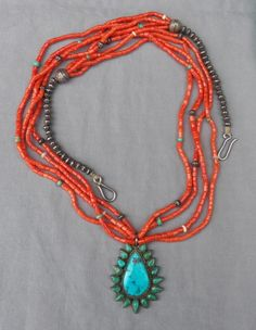 Vintage 4 Strand Coral Necklace w Handmade Silver Beads Turquoise Pendant