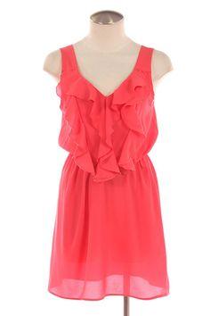 Coral Ruffle Dress Fabulous
