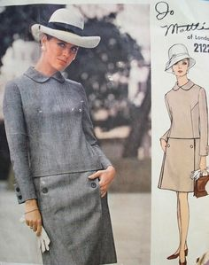 1960s Jo Mattli Low Waist A Line Dress Pattern VOGUE COUTURIER DESIGN 2122  Bust 31.5 Vintage Sewing Pattern