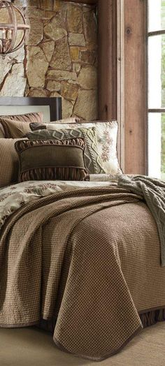 his gorgeous rustic bedding collection has sumptuous shades of velvety greens and browns. The perfect finishing touch to a log cabin or rustic bedroom. Rustic Bedroom Furniture Sets, Rustic Bedroom Design, Rustic Bedding, Boho Bedding, Bedroom Ideas, Western Bedding, Country Bedding, Bedding Decor, Queen Bedding